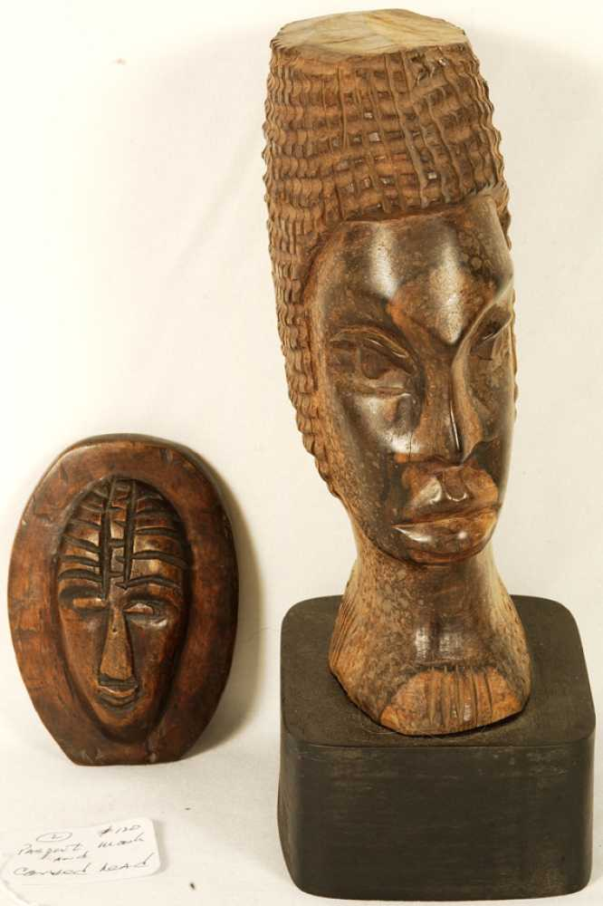 African carved wooden head