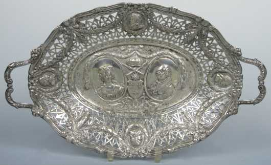 Continental Silver Handled Oval Tray