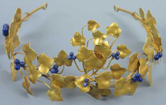 "18K Gold Tiara, vine and leaf form with lapis berries, marked 18K  and ""Knight"""