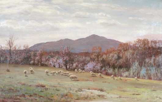 William Preston Phelps,  oil on canvas of a Mount Monadnock landscape
