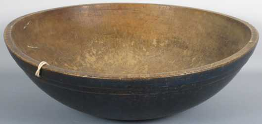 Blue Painted Turned Bowl, 19th century American