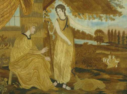 Philadelphia School Biblical Needlework Picture of Ruth and Naomi