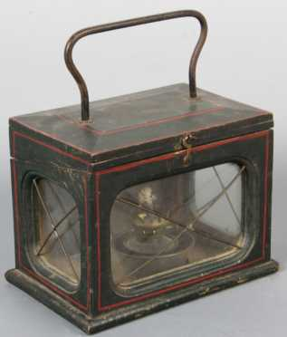 "Wooden And Tin Decorated Lantern, ""Manufactured by C.D. Van Allen, Syracuse, NY, Pat. 1863,"""
