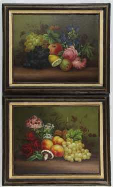 Edwin Steele, pair of oil on canvas still life paintings