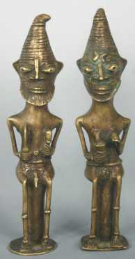 Pair of Yoruba Ogboni Brass African Figures