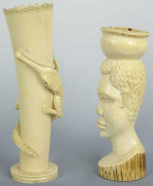 Lot of Two Carved Ivory Pieces, African
