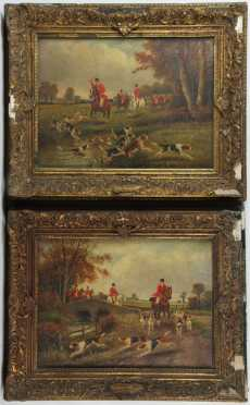 Samuel Henry Gordon Alken,  pair of oil on canvas paintings of hunting scenes
