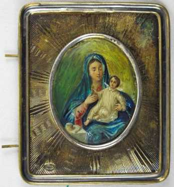 "Russian Icon of Virgin With Child, silver frame with ""84"" zolotnik mark and date ""1890,"""