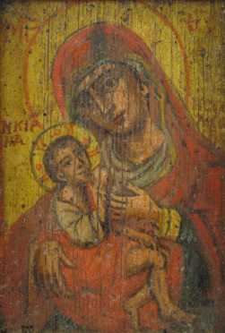 Early Russian Icon of Mary with Baby Jesus