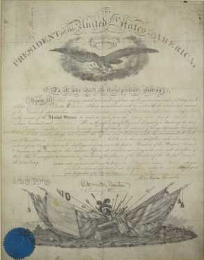 1862 Abraham Lincoln And Edmund Stanton  Signed Document granting James B. Turner the rank of Captain