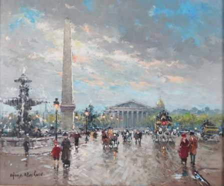 Antoine Blanchard, oil on Canvas painting of a Paris scene