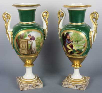 Pair of 19th Century Paris Porcelain Urns