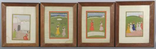 Four Punjabi Miniature Paintings, depicting the life and teachings of Guru Nanak