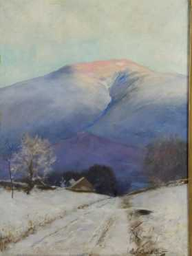 Daniel Francois Santry, oil on canvas of a winter White Mountain scene