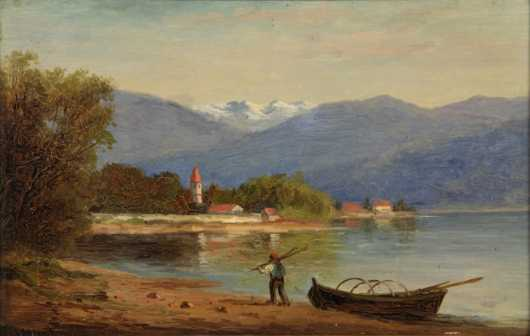 Frank Henry Shapleigh,  oil on board painting  of Lake Thun