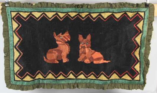 Silk Pictorial Sewn Rug, depicting 2 scotty dogs