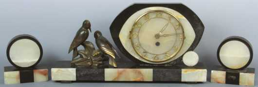 "Marble 3-Piece Deco Clock Set, signed on the cast birds ""Limousin,"""