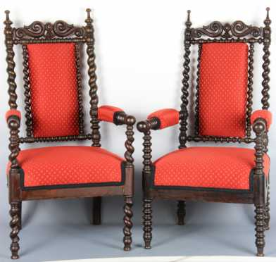 Two Walnut Gothic Form Arm Chairs