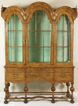 English Burlwood 2-part Cabinet, in the William and Mary style, 19th century.