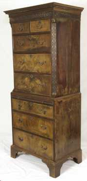 English Chippendale Chest on Chest, 19th century
