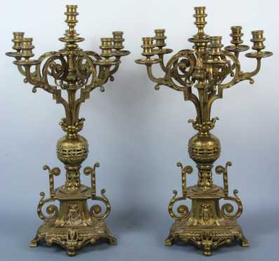 Pair of Brass Candelabras