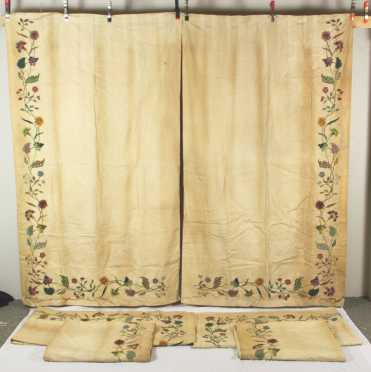 Three Pair of Crewel Work Draperies