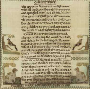 "English Needlework Sampler, titled ""Omnipotence,"" created in 1839"