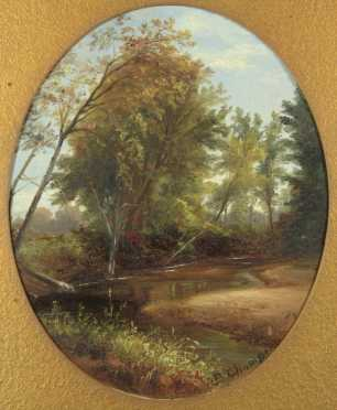 Benjamin Champney, Attributed, oval oil on board of a woodland scene with stream