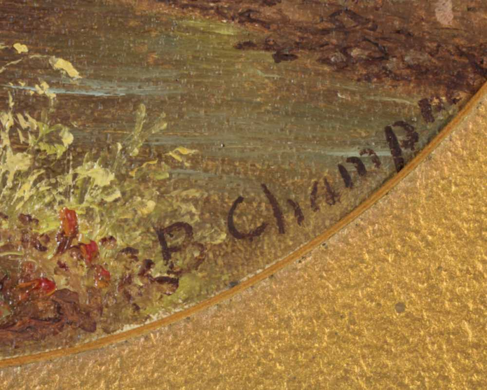 Benjamin Champney Attributed Oval Oil On Board Of A