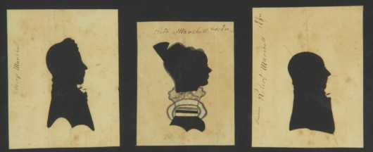 "Three Silhouettes of The ""Marshall Family,"" all done around 1830"