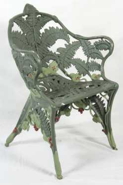 Cast Iron Fern Form Arm Chair