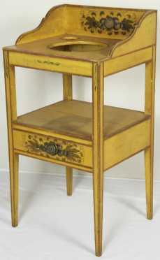 Yellow Paint Decorated Wash Stand