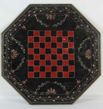 Paint Decorated and Carved Checker Board