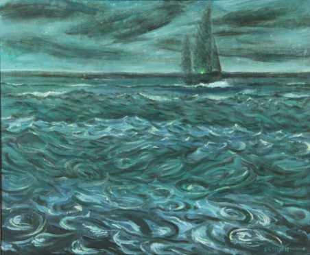 "Frederick Rhodes Sisson,  oil on Masonite, ""Night Sail,"""