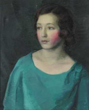 "Frederick Rhodes Sisson, portrait, ""Woman in Teal Dress,"""
