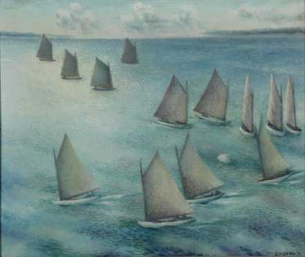 "Frederick Rhodes Sisson, oil on Masonite, ""Regatta,"""