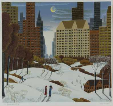 Thomas McKnight, serigraph, of a winter Central Park scene