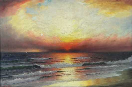 R. Dey De Ribcowski, oil on canvas painting of an ocean wave seascape