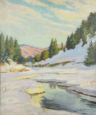 Louis Wolchonok, oil on board snowscape