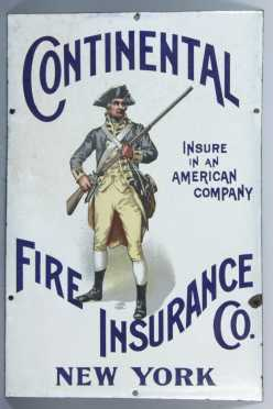 "Porcelain ""Continental Fire Insurance Co,"" Sign"