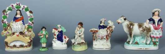 Six Staffordshire Figurines of people with animals