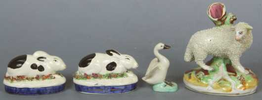 Four Staffordshire Animal Figurines