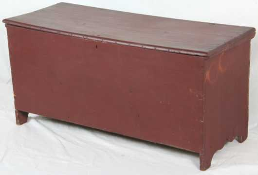 Red Painted Six Board Blanket Chest