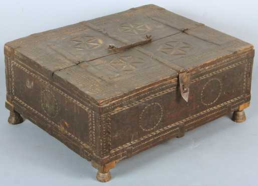 Indian Gouge Carved Document Box