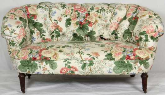 Sheraton Style Upholstered Love Seat