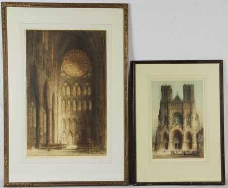 "2 Colored Etchings After ""James Alphege Brewer"""