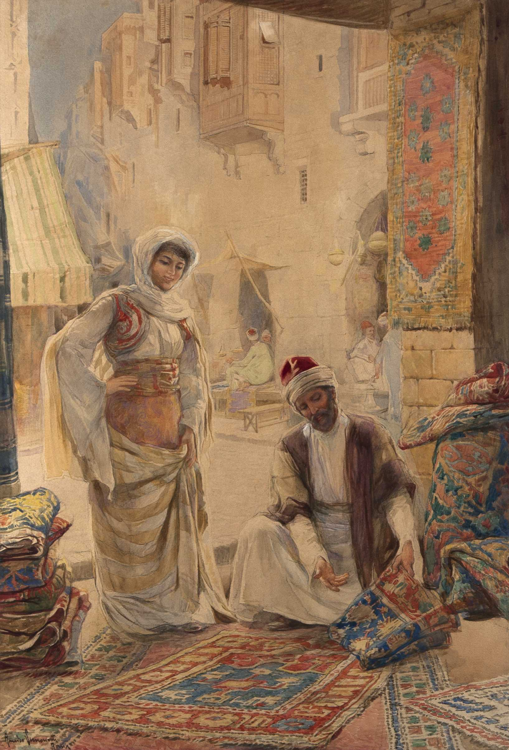 Amedeo Simonetti Watercolor Of A Rug Merchant.