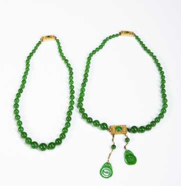 Two Imperial Jade Necklaces