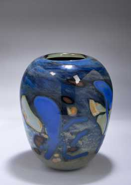 Modern Art Glass Vase by M. Mohr.
