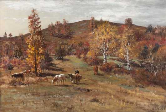 William Preston Phelps Painting of an Autumn Scene with Cows .